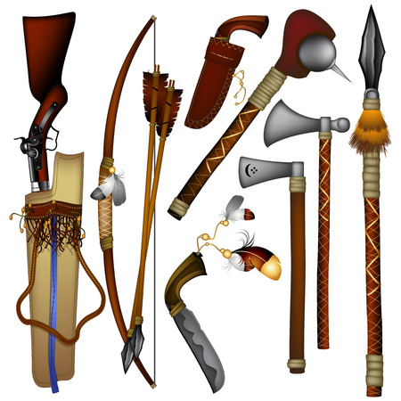spears: set of  weapons American Indian Illustration