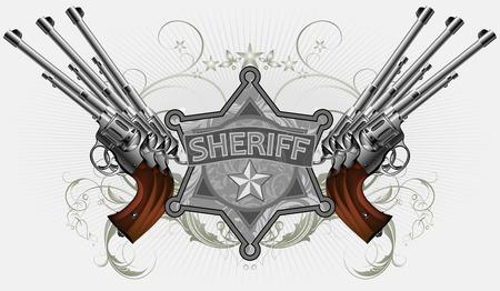 sherif: sheriff star with guns Illustration
