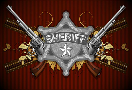 sheriff star with guns Stock Vector - 25999937