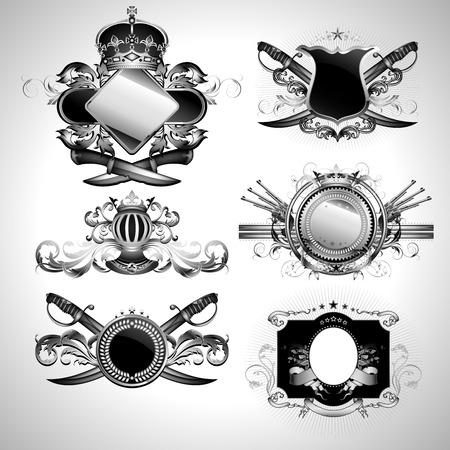 vintage gun: set of ornamental labels Illustration