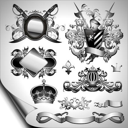 halberd: set of ornamental labels Illustration