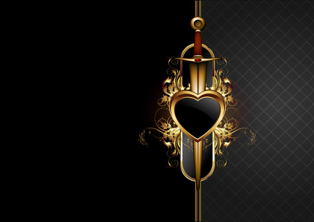 sword and heart: ornate frame with armso