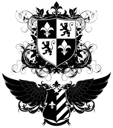 shield wings: set of ornamental heraldic shields
