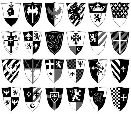 set of ornamental heraldic shields
