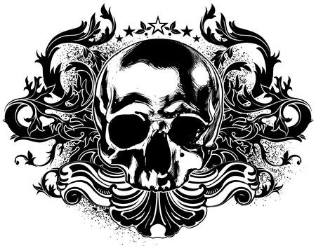 black skull: human scull decorative