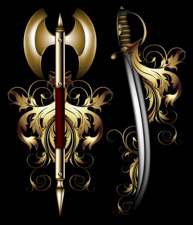 halberd: ancient ornate arms