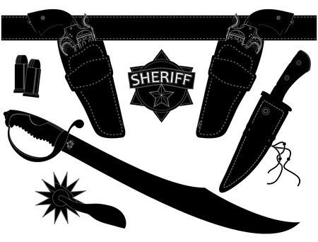 set of sheriff s weapons and accessories Vector