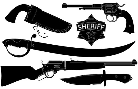antic: set of sheriffs weapons and accessories Illustration