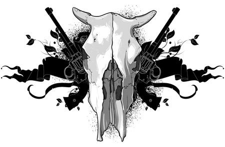 buey: cráneo de vaca y pistolas