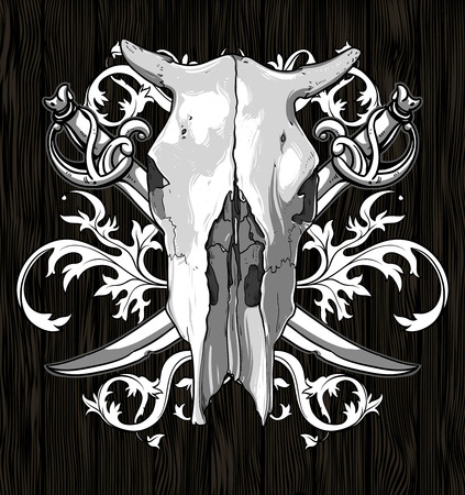 cow skull: skull cow with sabers Illustration