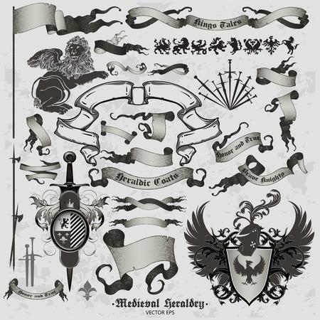 espadas medievales: conjunto de la heráldica medieval