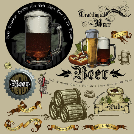 set if beer elements Vector