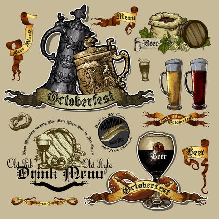 set if beer elements Vector