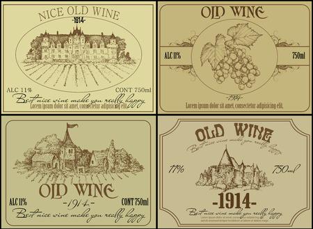 ワインのラベルのセット
