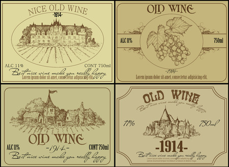 set of wine labels Illustration