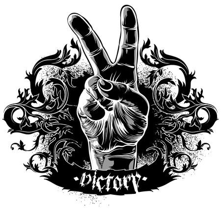 victory symbol: decorative symbol of victory Illustration