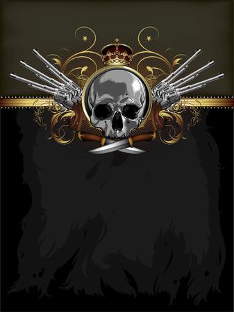 paint gun: decorative art with skull Illustration