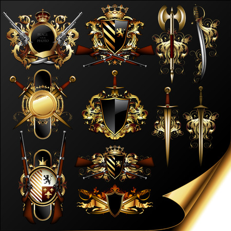 中世の紋章のセット