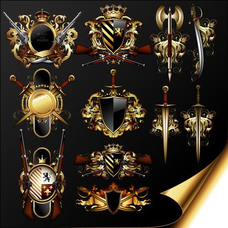 Reihe von mittelalterlichen Heraldik Standard-Bild - 34188738