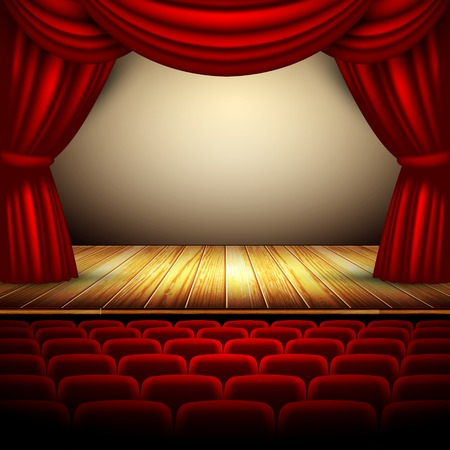 theater stage with red curtain and wooden floor