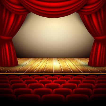 theater podium met rood gordijn en de houten vloer Stock Illustratie