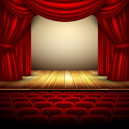 staging: theater stage with red curtain and wooden floor