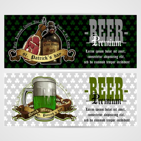 tankard: beer menu design for Patrick day with clover