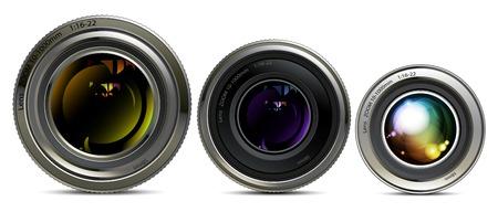 lens unit: Three different sizes of camera lens on white background Illustration