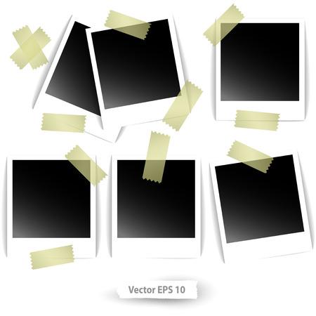 glued: Polaroid photos glued  strips of adhesive tape Illustration