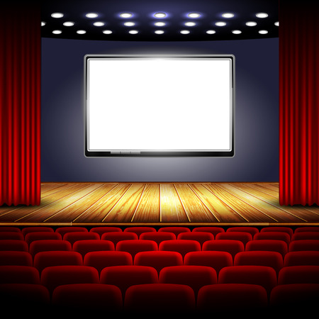 auditorium cinema system with screen, stage and red curtain
