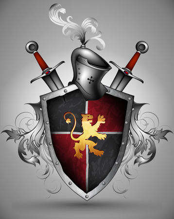 ornamented black shield with a lion, a helmet and two swords Vector