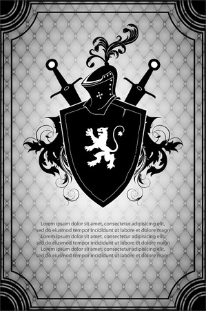 black shield with a white lion and a weapon on ornamented background Vector