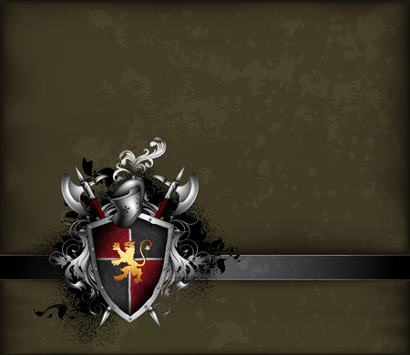 halberd: ornate black and gray frame with shield, helmet and halberds Illustration
