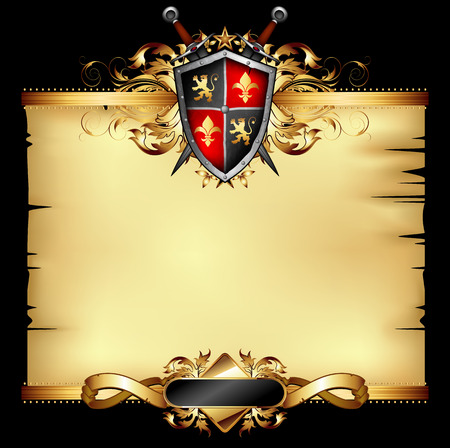 old parchment decorated with heraldic shield and two swords Vector