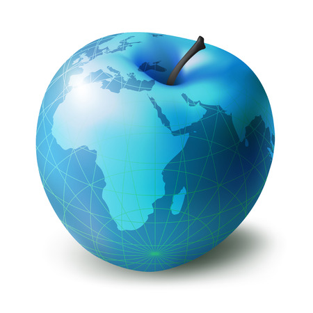 temptation: great blue apple, presented in the form of a globe