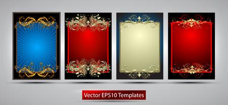 marcos decorados: Cuatro marcos ricamente decoradas de diferentes colores sobre un fondo gris Vectores