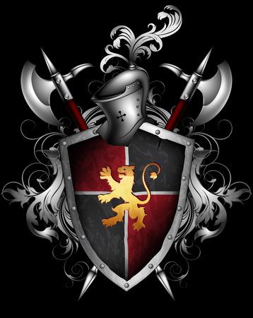 middeleeuwse schild, helm en hellebaard op een zwarte achtergrond