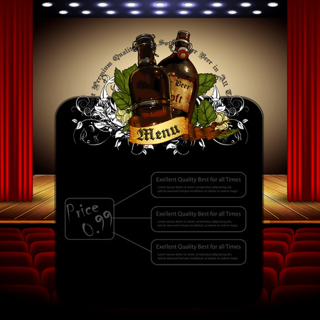 brasserie: brasserie menu on the background of the interior of the auditorium with a stage
