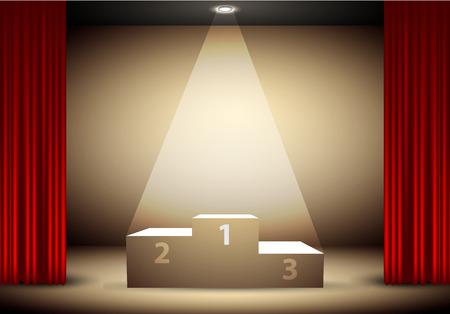 ganador: podio de los ganadores bajo un foco de luz, enmarcada cortina roja