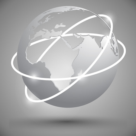orbits: light gray globe with two intersecting orbits Illustration