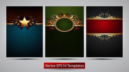marcos decorados: tres marcos ricamente decoradas de diferentes colores sobre un fondo gris Vectores