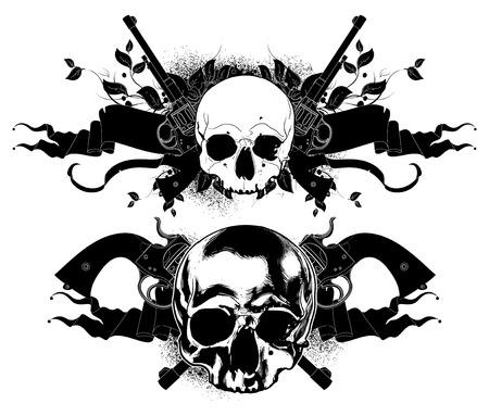 paint gun: decorative art background with human skulls and guns