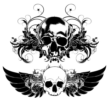 grunge skull: decorative art background with human skulls and wings
