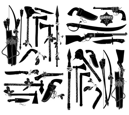 sheriffs: a large set of ancient weapons of American Indians and sheriffs Illustration