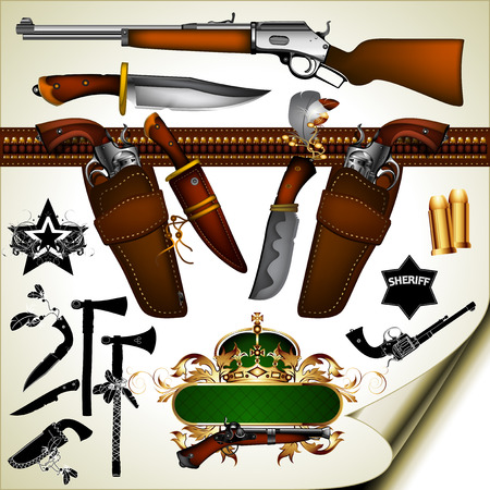 gun barrel: set of ancient weapons from knives and axes to firearms Illustration