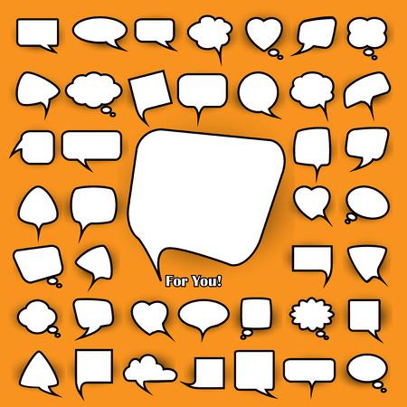 blab: serie di chiacchierate bianchi bolle forme diverse su uno sfondo giallo