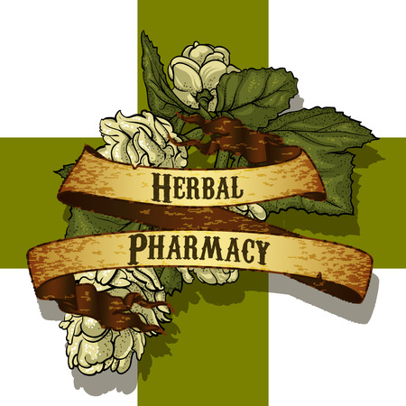 green cross: blooming grass against the Green Cross and the inscription herbal pharmacy