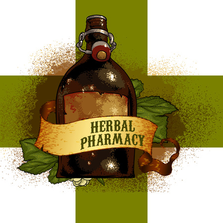 extract: bottle with herbal extract against a background of the Green Cross and the inscription herbal pharmacy