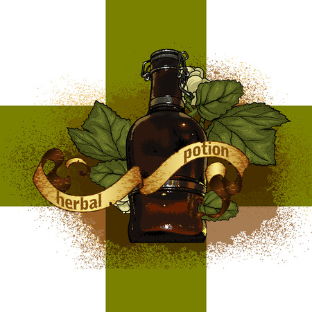 green cross: bottle with herbal extract against a background of the Green Cross