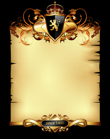 old parchment decorated with heraldic shield and floral elements Vector